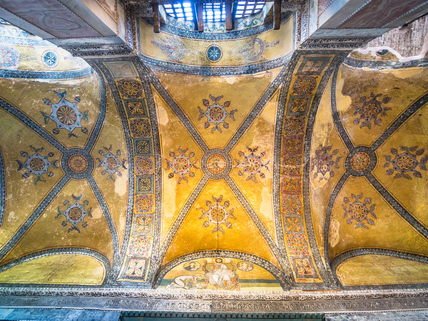 Ornate Ceiling of the Upper Gallery, Hagia Sophia, Istanbul, Turkey