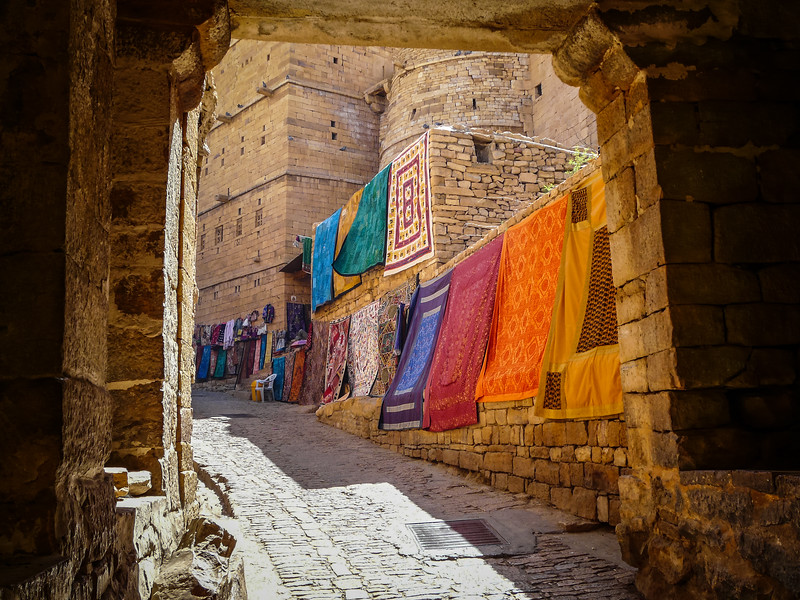 Rugs for Sale at the Entrance of Jaisalmer Fort, India