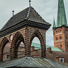 Market Stall Roof and Church Tower, Lübeck