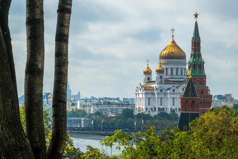 Church of Our Savior, Kremlin Tower, and Trees, Moscow