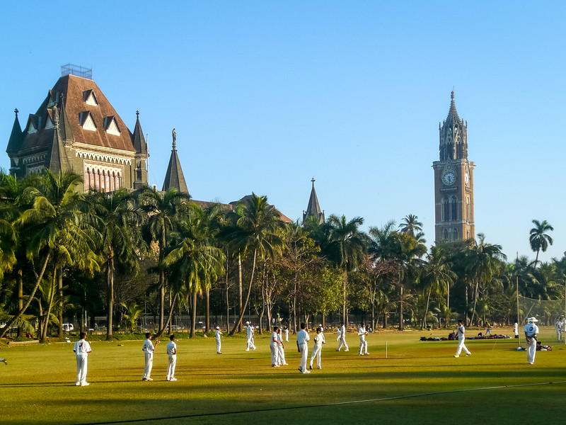 Cricketers on Oval Maidan, Mumbai, India