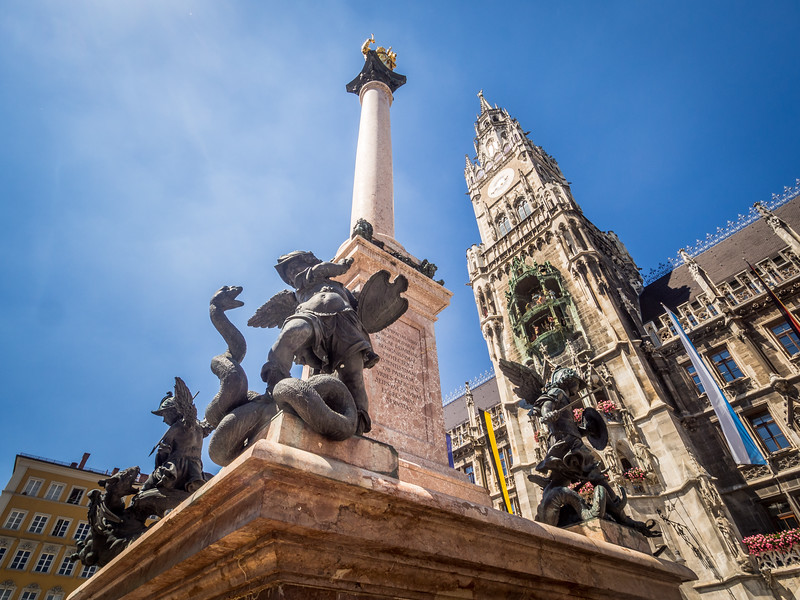 Cherub Slaying the Serpent, Marienplatz, Munich, Germany