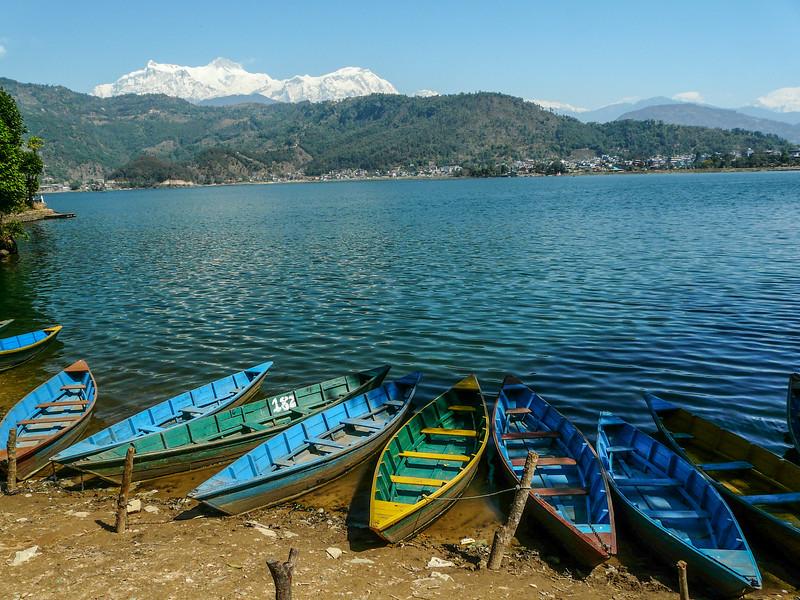 Boats on Phewa Tal and Annapurana II, Pokhara