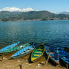 Boats on Phewa Tal and Annapurana II, Pokhara