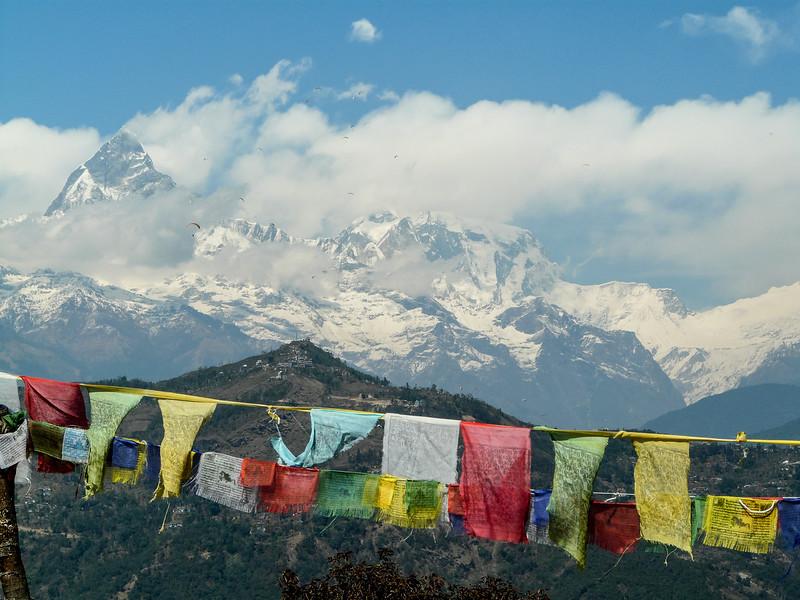 Machapuchare and Tibetan Flags, Pokhara