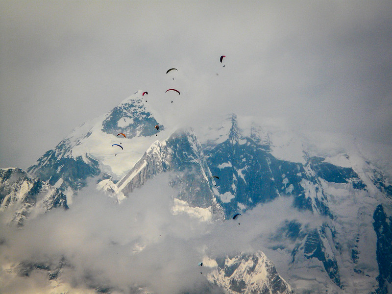 Hang-gliding in the clouds, Pokhara, Nepal