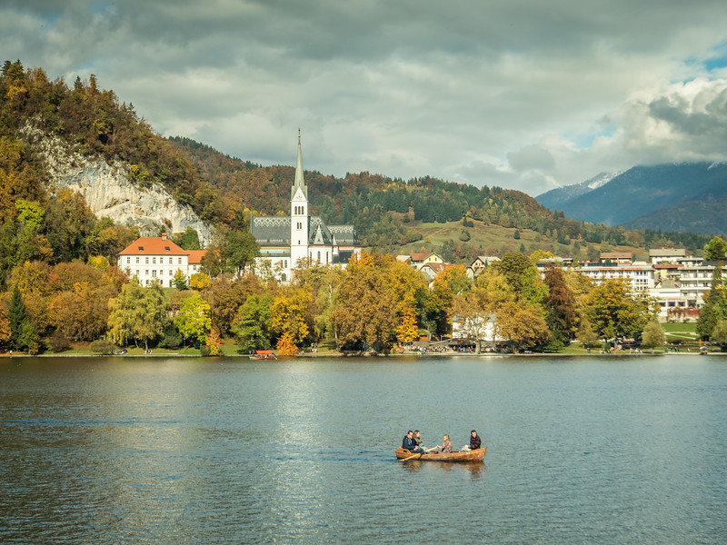 Bled Church and Canoe, Slovenia