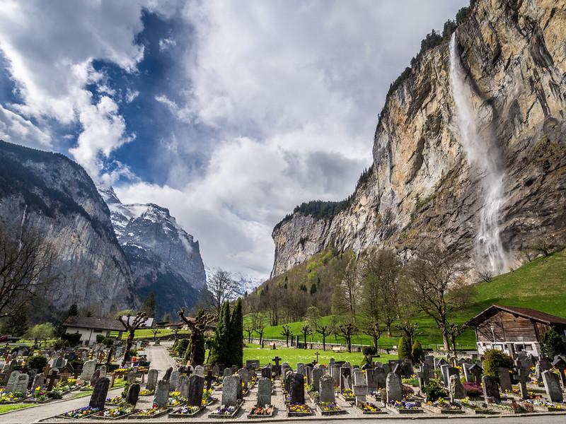 Lauterbrunnen Cemetery and Waterfall, Bernese Alps, Switzerland