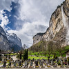 Lauterbrunnen Cemetery and Waterfall, Bernese Alps