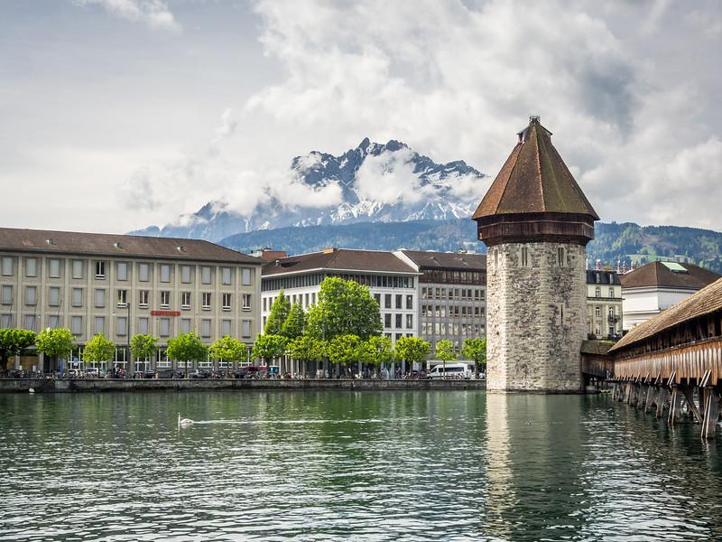 Kapellbrücke and Mount Pilatus, Lucerne, Switzerland
