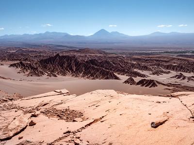 Aeolian Scoured Rocks Licancabur volcano above Valle de la Muerte