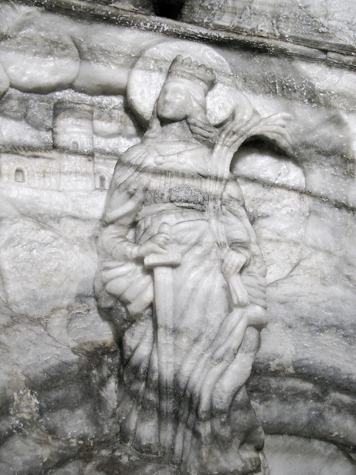 Figurine carved into salt wall