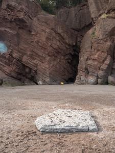 Ice Flow debris Limestone among the sandstone cliffs