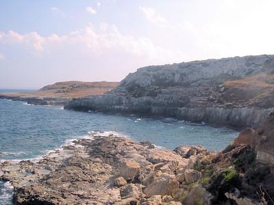 Wave cut terrace along fault line