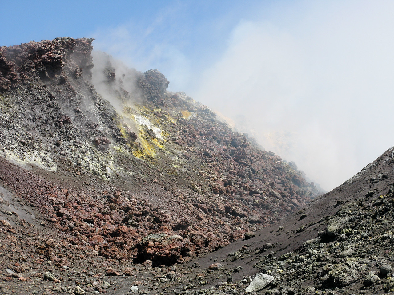 Sulfur fumes forming crystals