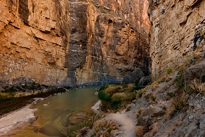 Rio Grand flowing through Santa Elena Canyon.  US on the right.  Mexico on the left.