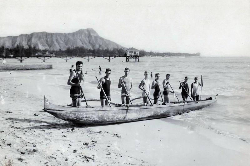 Outrigger Canoe Paddling c 1920