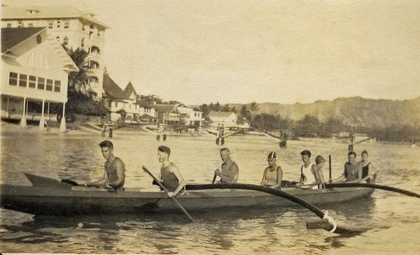 Canoe Riding Waikiki 1917