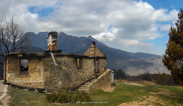The Old Toll House on the Montagu Pass after the devastating veld fire on the slopes of the Outeniqua Mountains. George. Garden Route. Western Cape. South Africa
