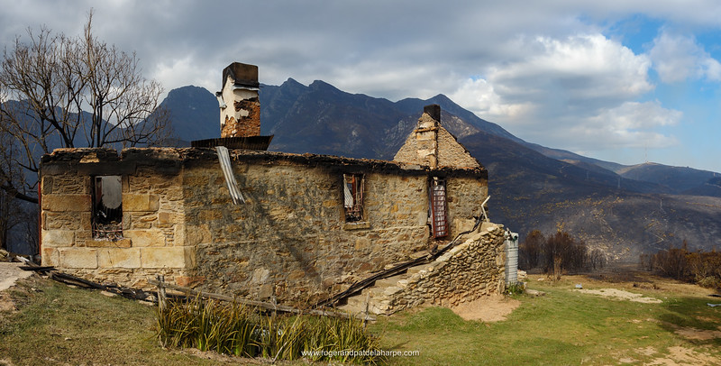 The Old Toll House on the Montagu Pass after the devestating veld fire on the slopes of the Outeniqua Mountains. George. Garden Route. Western Cape. South Africa