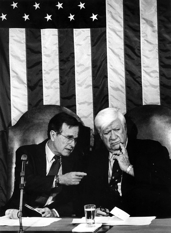 ". Vice President George H.W. Bush and House Speaker Thomas ""Tip\"" O\'Neill during a Joint Session of Congress on March 20, 1985 in Washington, D.C. MUST CREDIT: Washington Post photo by James K.W. Atherton"