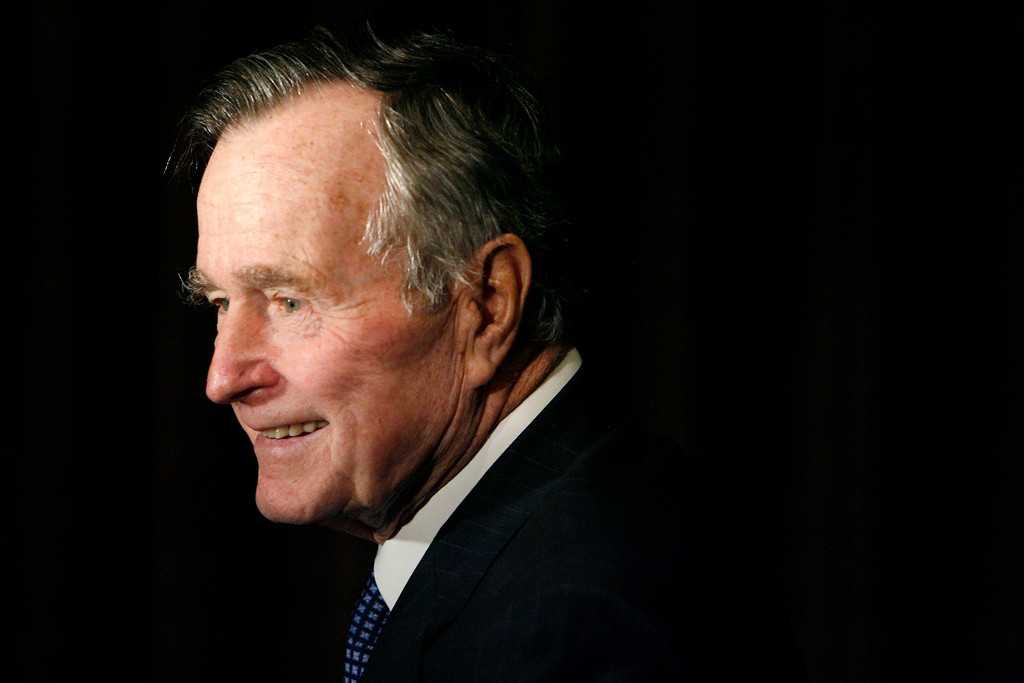 . FILE - In this Feb. 6, 2007, file photo, former President George H.W. Bush arrives at the 2007 Ronald Reagan Freedom Award gala dinner held in his honor in Beverly Hills, Calif. Bush has died at age 94. Family spokesman Jim McGrath says Bush died shortly after 10 p.m. Friday, Nov. 30, 2018, about eight months after the death of his wife, Barbara Bush. (AP Photo/Matt Sayles, File)