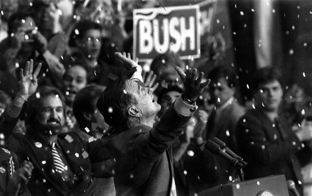 . George Bush is showered with confetti at a campaign rally in Cleveland, Ohio, in November 1992. MUST CREDIT: Washington Post photo by Frank Johnston