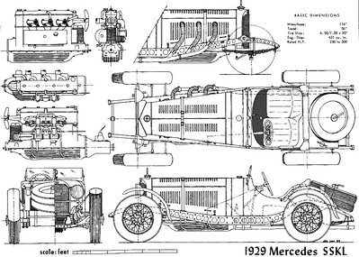 1928-32-Mercedes-Benz-SSK-7 1L-I-6-Supercharged-Engineering-Drawings