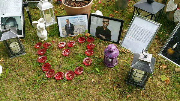 I particularly liked the photo with the caption Welcome to the George Michael memorial Garden,