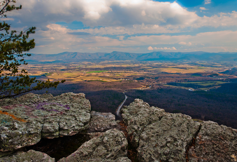 View of the Shenandoah Valley and Appalachian Mountain from Massanutten Mountain in George Washington National Forest, Virginia