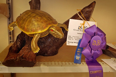 Wood carving of a turtle, carved and painted by George Wright. Ozark Empire Fair, July 31, 2012.