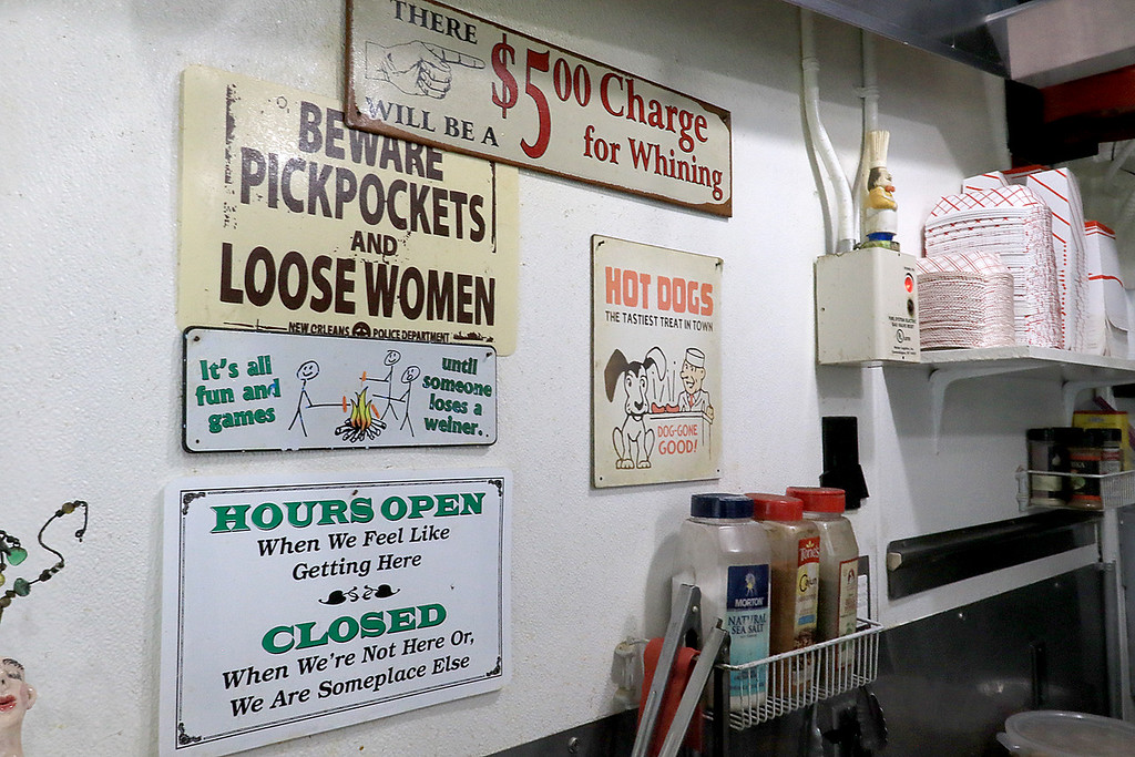 . George\'s Hot Dog Stand in Fitchburg is one of the local seasonal eateries in the North Central MA region. Some of the signs owner Joann Sisoian found and has hung up in her establishment. SENTINEL & ENTERPRISE/JOHN LOVE