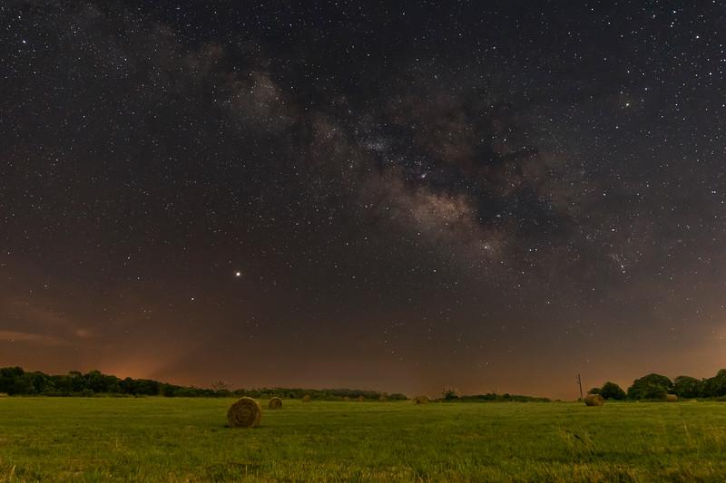Milky Way Over Hay Bales