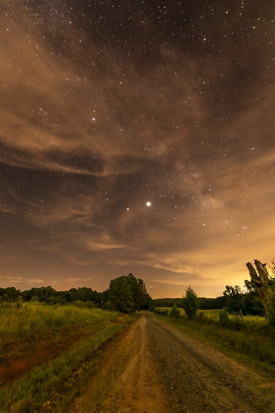 Milky Way, Jupiter and Saturn Over Freeman Creek Road