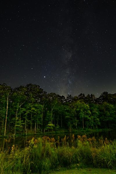 Milky Way, Jupiter and Saturn Over Pond