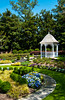 A small gazebo with floral garden in Atlanta, Georgia, USA.
