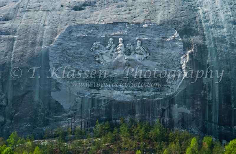 The carving on Stone Mountain, Atlanta, Georgia, depicts three figures of the Confederate States of America: Stonewall Jackson, Robert E. Lee, and Jefferson Davis.