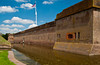 The historic Fort Pulaski with american flag and moat, on Cockspur Island, Georgia, USA, America