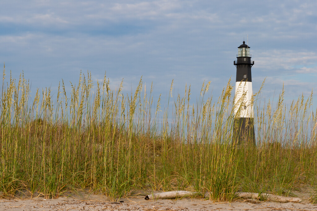 The Tybee Island Lighthouse as seen from one of the beaches in Tybee Island. Tybee Island, GA<br /> <br /> GA-080626-0025