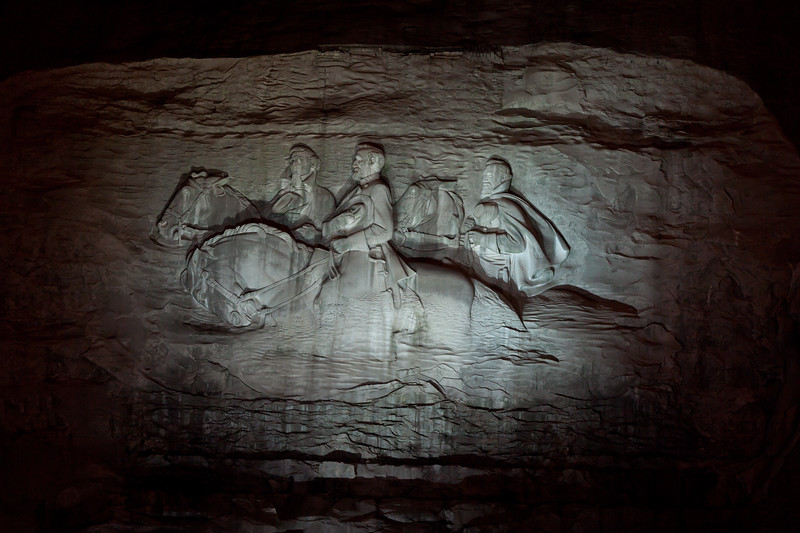 Stone Mountain sculpture illuminated at night. Stone Mountain, GA<br /> <br /> GA-100626-0020
