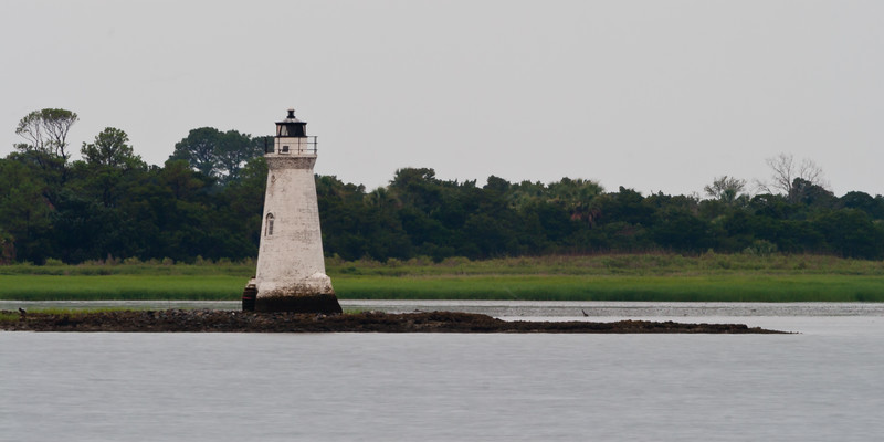 Cokspur Island Lighthouse at dusk. Tybee Island, GA<br /> <br /> GA-080626-0195