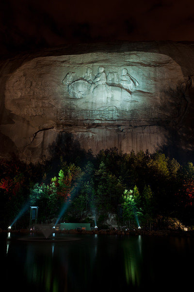 Nighttime illumintaion of Stone Mountain. Stone Mountain, GA<br /> <br /> GA-100626-0028