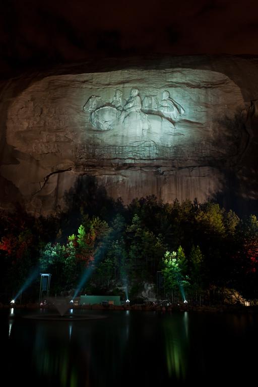 Nighttime illumintaion of Stone Mountain. Stone Mountain, GA<br /> <br /> GA-100626-0028