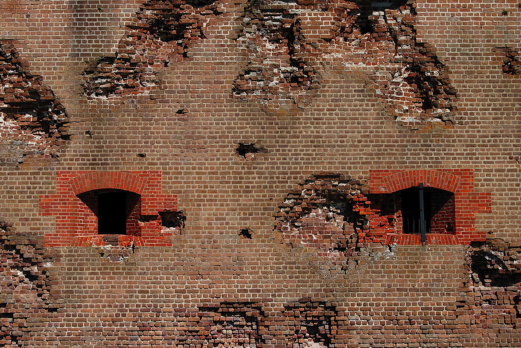 Fort Pulaski National Monument, Chatham County (GA) April 2008<br /> <br /> Close-up of the damage caused by 5,275 shots fired at Fort Pulaski by Union troops in April 1862.