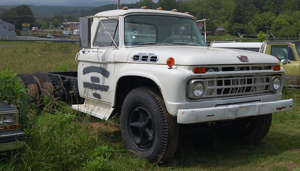 """Former Engine 5""<br /> 1960's Ford F750<br /> <br /> Now sitting in a lot in Blairsville, GA<br /> <br /> Andrew Messer Photo"