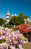 The Jekyll Island Club Hotel with azalea bushes in the Jekyll Historical District of Jekyll Island in the Golden Isles of Georgia, USA.