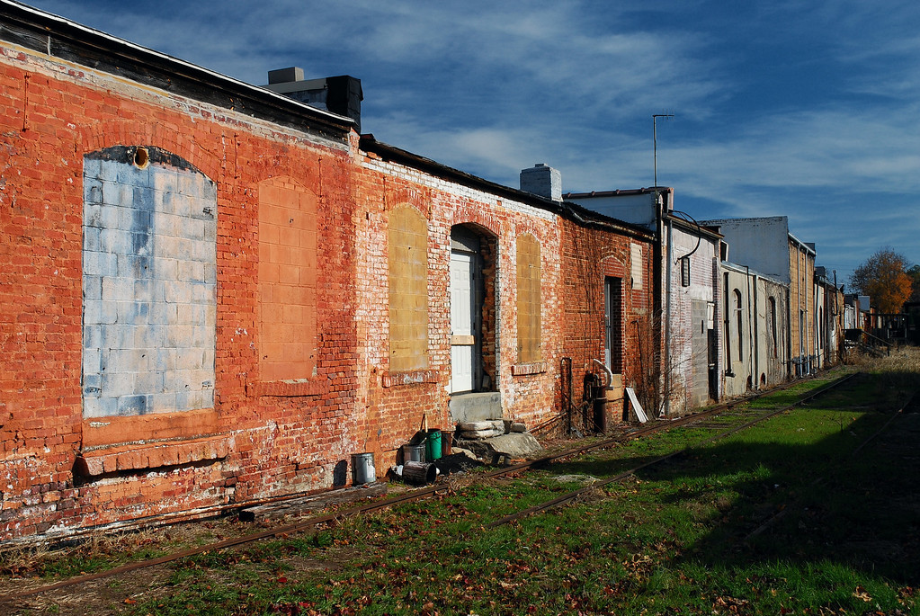 A row of abandoned warehouse along the tracks near the railroad depot, Hartwell, GA (Hart County) November 2008