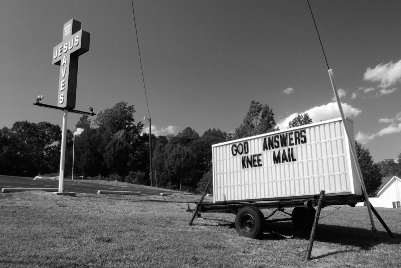 Signs in front of the Whitehall Baptist Church, Athens, GA (Clarke County) May 2008