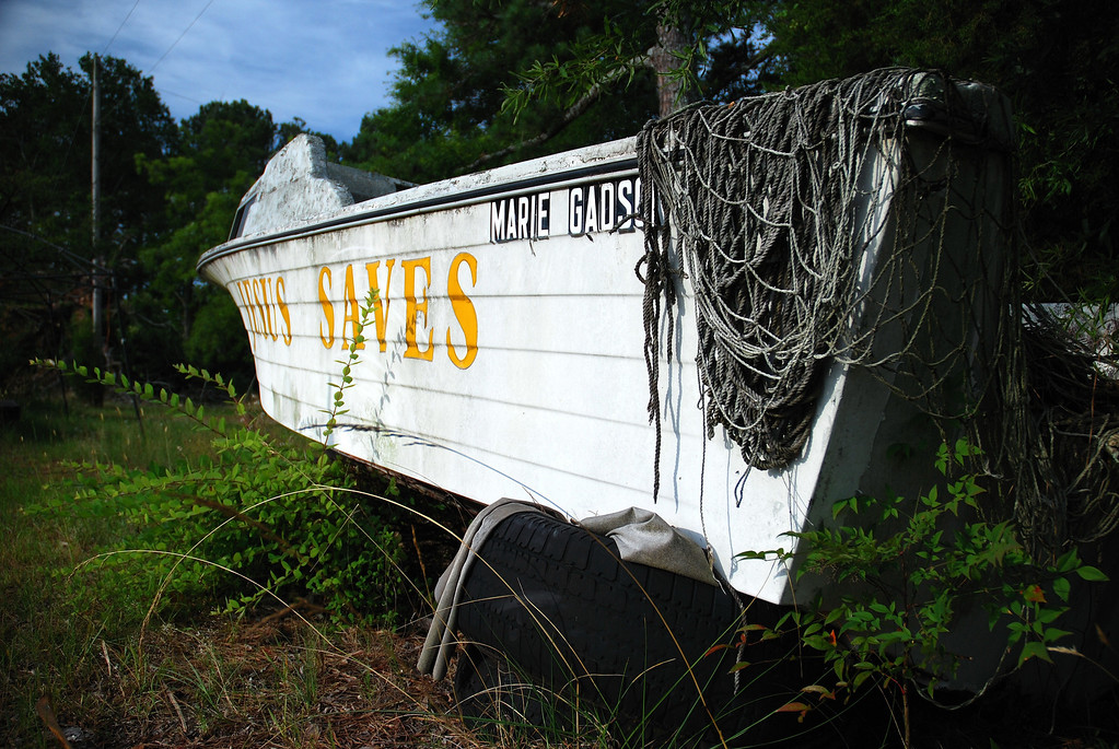 Abandoned boat with religious message on U.S. 441, Morgan County (GA) June 2008