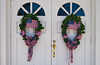 Patriotic church door  wreaths in rural Georgia, USA, America.